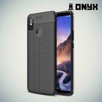 Leather Litchi силиконовый чехол накладка для Xiaomi Mi Max 3 - Черный