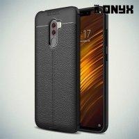 Leather Litchi силиконовый чехол накладка для Xiaomi Pocophone F1 - Черный