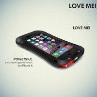 Металлический противоударный чехол LOVE MEI со стеклом Gorilla Glass для iPhone 6s / 6