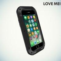 Металлический противоударный чехол LOVE MEI со стеклом Gorilla Glass для iPhone 8/7