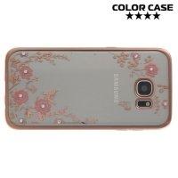Металлизированный силиконовый чехол для Samsung Galaxy S7 Edge - с рисунком Цветы