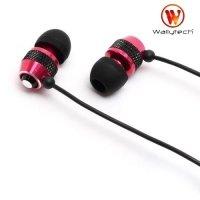 Наушники гарнитура с микрофоном Wallytech WHF-081 Металлические Красные