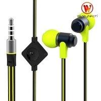 Наушники гарнитура с микрофоном Wallytech WHF-116 Черно зеленые