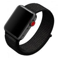 Нейлоновый ремешок на липучке для Apple Watch 38-40mm 2/3/4 Series Черный