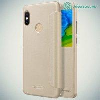 Nillkin чехол книжка с окном для Xiaomi Redmi Note 5 / 5 Pro - Sparkle Case Золотой