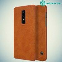 NILLKIN Qin чехол флип кейс для OnePlus 6 - Коричневый
