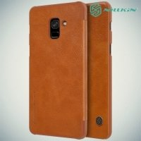 Nillkin Qin Series чехол книжка для Samsung Galaxy A8 2018 - Коричневый