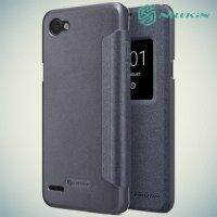 Nillkin с умным окном чехол книжка для LG Q6 M700AN / Q6a M700 - Sparkle Case Серый