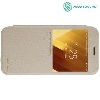 Nillkin с окном чехол книжка для Samsung Galaxy A3 2017 SM-A320F - Sparkle Case Золотой
