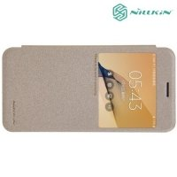 Nillkin с окном чехол книжка для Samsung Galaxy J5 Prime - Sparkle Case Золотой