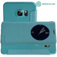 Nillkin с умным окном чехол книжка для Samsung Galaxy S6 Edge+ - Sparkle Case Зеленый