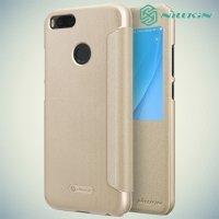 Nillkin с умным окном чехол книжка для Xiaomi Mi 5x / Mi A1 - Sparkle Case Золотой