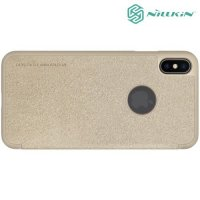 Nillkin Sparkle флип чехол книжка для iPhone XS Max - Золотой