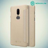 Nillkin Sparkle флип чехол книжка для OnePlus 6 - Золотой
