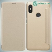 Nillkin Sparkle флип чехол книжка для Xiaomi Redmi Note 6 / Note 6 Pro - Золотой