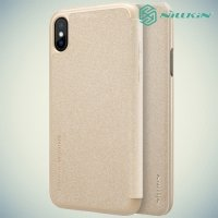 Nillkin ультра тонкий чехол книжка для iPhone Xs / X - Sparkle Case Золотой
