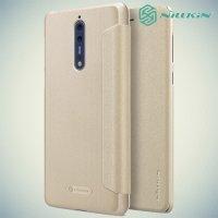 Nillkin ультра тонкий чехол книжка для Nokia 8 - Sparkle Case Золотой