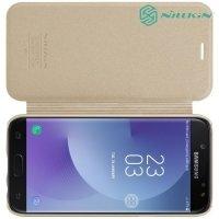 Nillkin ультра тонкий чехол книжка для Samsung Galaxy J7 2017 SM-J730F - Sparkle Case Золотой