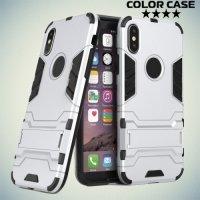 Противоударный гибридный чехол для iPhone Xs / X - Серебряный