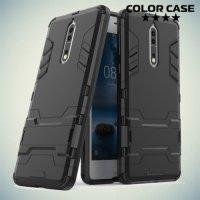 Противоударный гибридный чехол для Nokia 8 - Черный