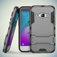 Противоударный гибридный чехол для Samsung Galaxy J1 2016 SM-J120F - Серый