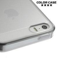 Прозрачный чехол на iPhone SE с черными ребрами
