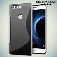 Силиконовый чехол для Huawei Honor 8 - S-образный Черный