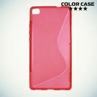 Силиконовый чехол для Huawei P8 - S-образный Красный