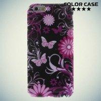 Силиконовый чехол для iPhone 6S / 6 - с рисунком Бабочки на чёрном