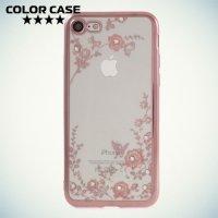 Силиконовый чехол для iPhone 8/7 c цветами и стразами