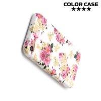 Силиконовый чехол для iPhone 8/7 - с рисунком Розы на белом