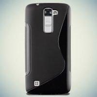 Силиконовый чехол для LG K10 K410 - S-образный Черный