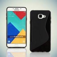 Силиконовый чехол для Samsung Galaxy A7 2016 SM-A710F - S-образный Черный