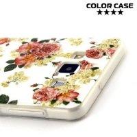 Силиконовый чехол для Samsung Galaxy A7 - с рисунком Розы