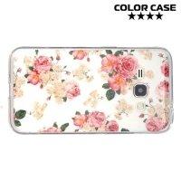Силиконовый чехол для Samsung Galaxy J1 2016 SM-J120F - с рисунком Цветы