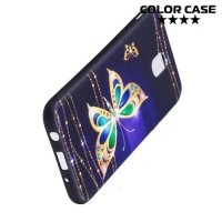 Силиконовый чехол для Samsung Galaxy J5 2017 SM-J530F - с рисунком Бабочки на чёрном