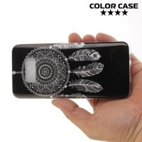 Силиконовый чехол для Samsung Galaxy S8 - с рисунком Ловец снов на чёрном
