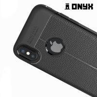 Силиконовый чехол под кожу для iPhone Xs / X - с рисунком Черный