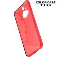 Силиконовый чехол для HTC One М9 Plus S-образный - красный
