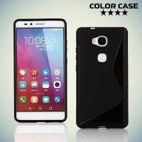 Силиконовый чехол для Huawei Honor 5X - S-образный Черный