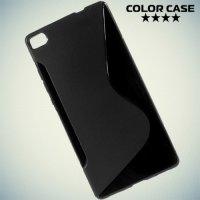 Силиконовый чехол для Huawei P8 - Черный S-образный