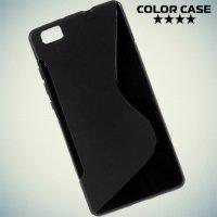 Силиконовый чехол для Huawei P8 Lite - Черный S-образный