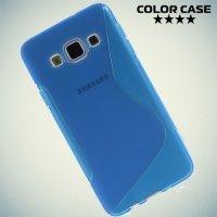 Силиконовый чехол для Samsung Galaxy A3 - синий S-образный