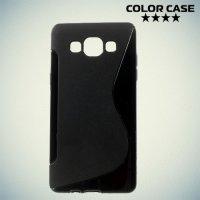 Силиконовый чехол для Samsung Galaxy A5 - черный S-образный