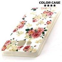 Силиконовый чехол для Samsung Galaxy A5 с орнаментом Розовые и белые розы