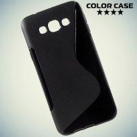 Силиконовый чехол для Samsung Galaxy A8 - черный S-образный