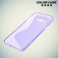 Силиконовый чехол для Samsung Galaxy A8 - фиолетовый S-образный