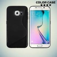Силиконовый чехол для Samsung Galaxy S6 Edge - черный S-образный