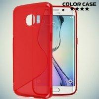Силиконовый чехол для Samsung Galaxy S6 Edge - красный S-образный