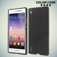 Силиконовый чехол накладка для Huawei Ascend P7 - черный